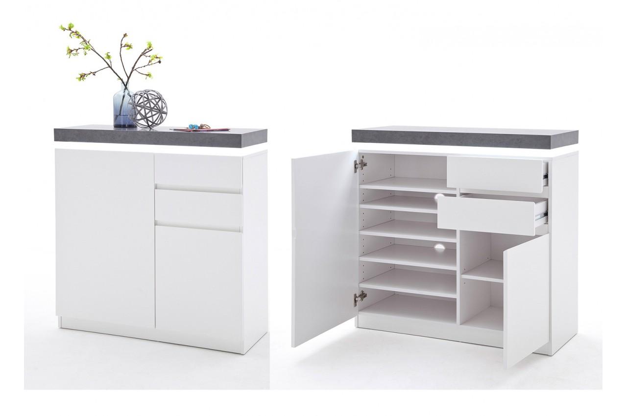 meuble d 39 entr e design blanc gris novomeuble. Black Bedroom Furniture Sets. Home Design Ideas