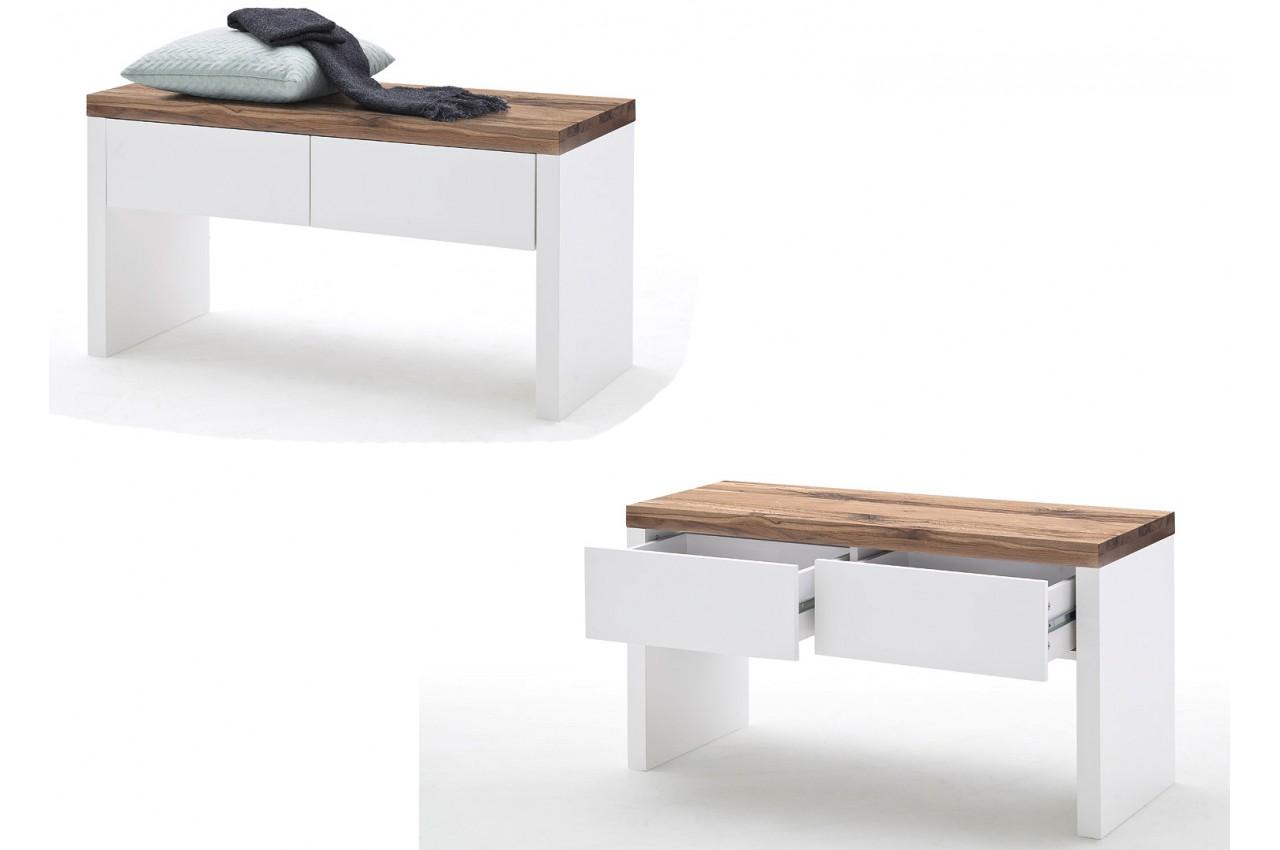 Meuble d 39 entr e design blanc bois novomeuble - Meuble d entree en bois ...