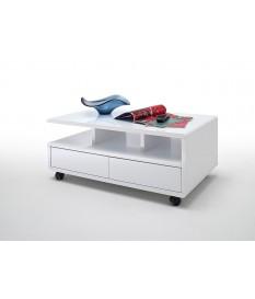 Table Basse Blanche sur Roulettes avec Tiroirs