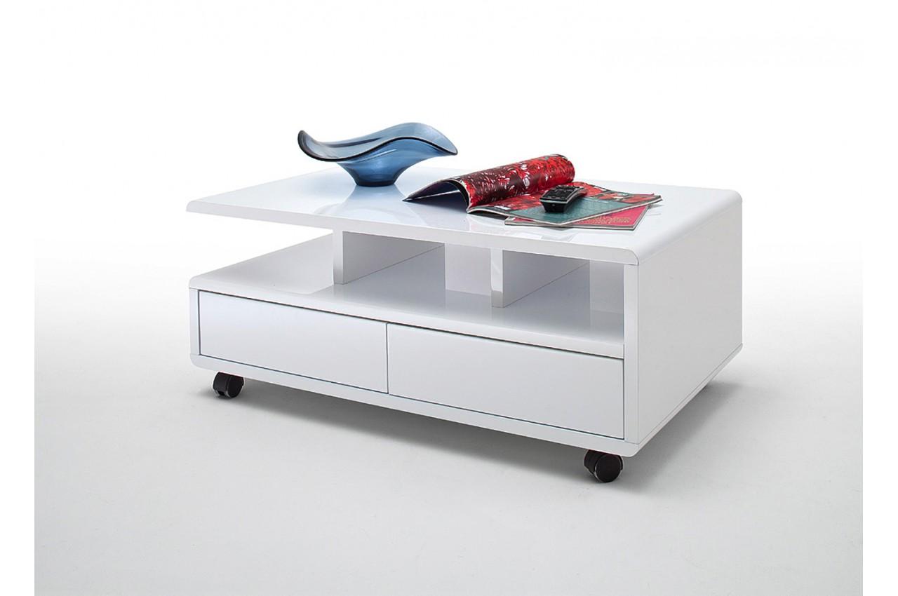 Table Basse Blanche Sur Roulettes Avec Tiroirs Pour Salon