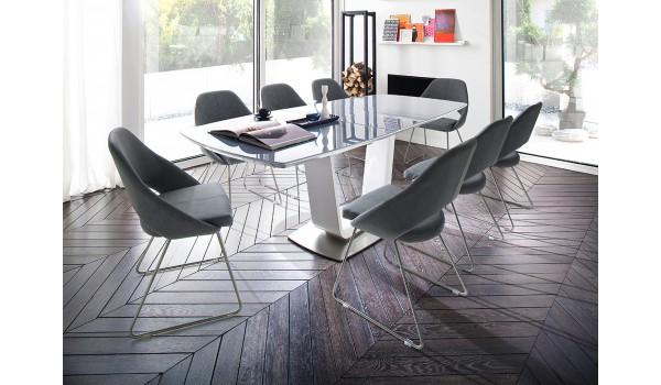 table contemporaine blanche plateau en verre gris pour salle manger. Black Bedroom Furniture Sets. Home Design Ideas