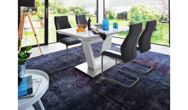 Table de Repas Design Blanche & Plateau en Verre