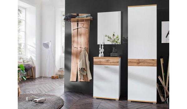 Meuble D'entrée Vestiaire Design Blanc & Bois