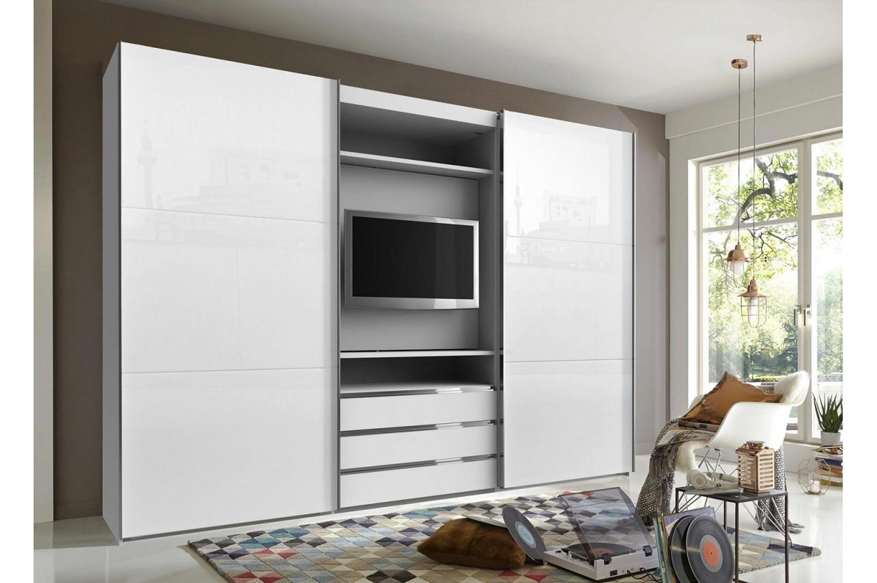 armoire dressing avec emplacement tv pour chambre adulte. Black Bedroom Furniture Sets. Home Design Ideas