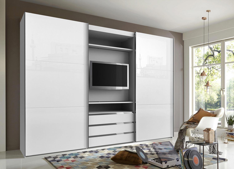 Armoire Murale Pour Chambre armoire dressing avec emplacement tv pour chambre adulte