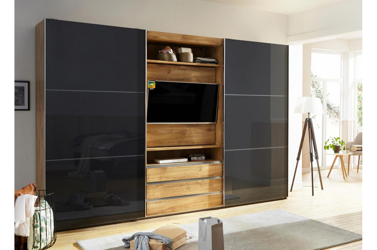 armoire dressing avec emplacement tv pour chambre adulte. Black Bedroom Furniture Sets. Home Design Ideas