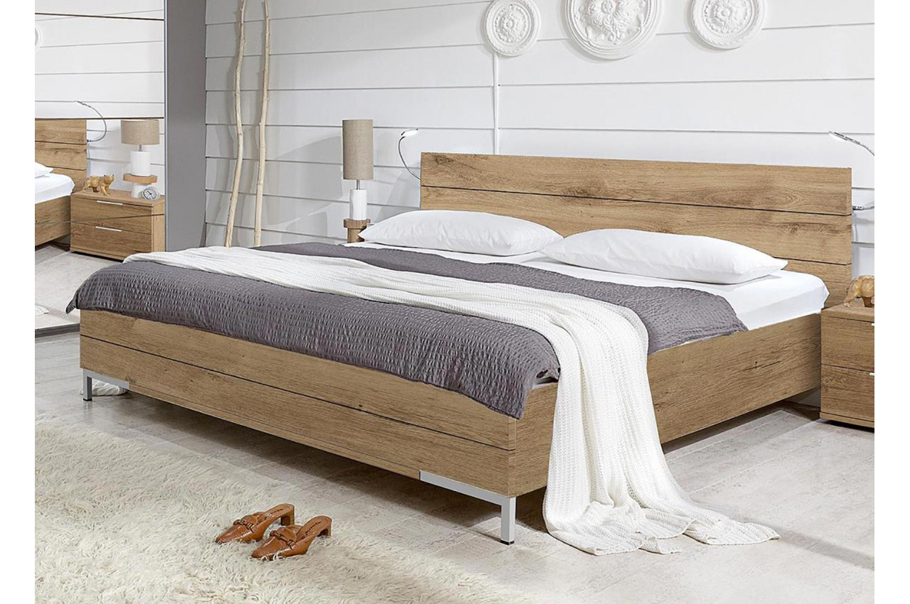 lit 2 personnes 180x200 cm pour chambre adulte. Black Bedroom Furniture Sets. Home Design Ideas