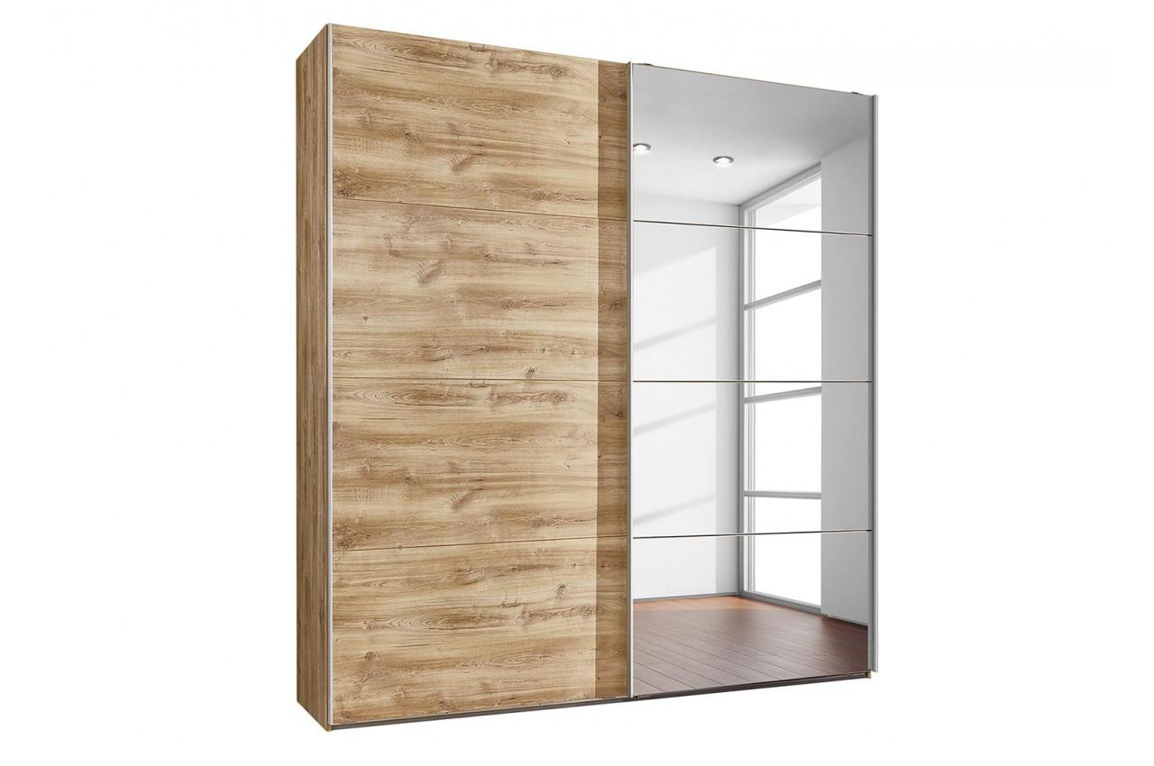 Les Armoires En Bois concernant armoire dressing bois et miroir - novomeuble