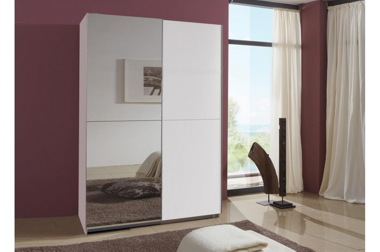 armoire miroir porte coulissante 135 cm novomeuble. Black Bedroom Furniture Sets. Home Design Ideas