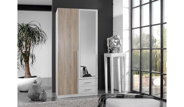 Armoire Miroir Chêne & Blanche pas Cher