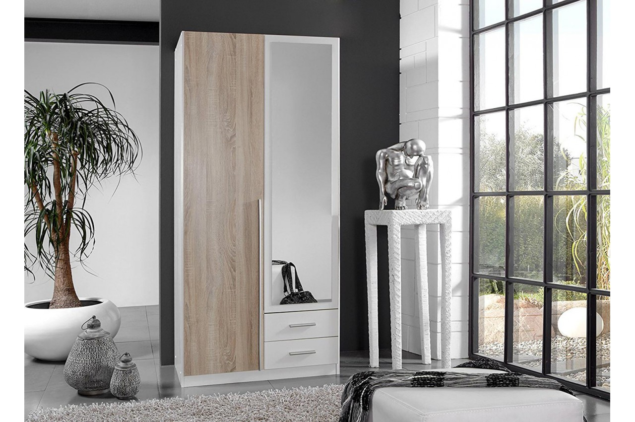 armoire miroir ch ne blanche pas cher pour chambre adulte. Black Bedroom Furniture Sets. Home Design Ideas