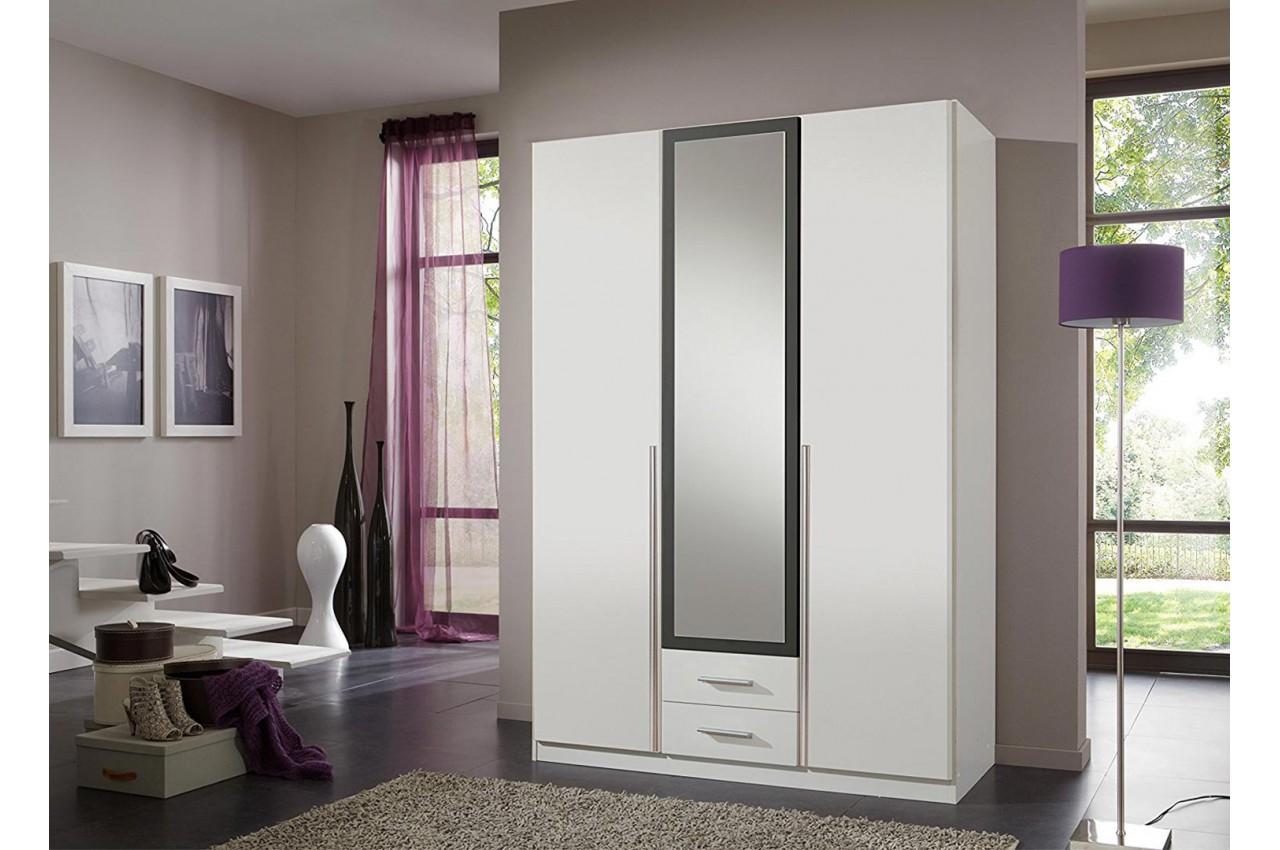 armoire penderie 3 portes 2 tiroirs pas cher pour. Black Bedroom Furniture Sets. Home Design Ideas