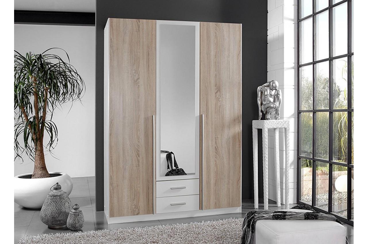 armoire penderie ch ne blanche pas cher pour chambre adulte. Black Bedroom Furniture Sets. Home Design Ideas