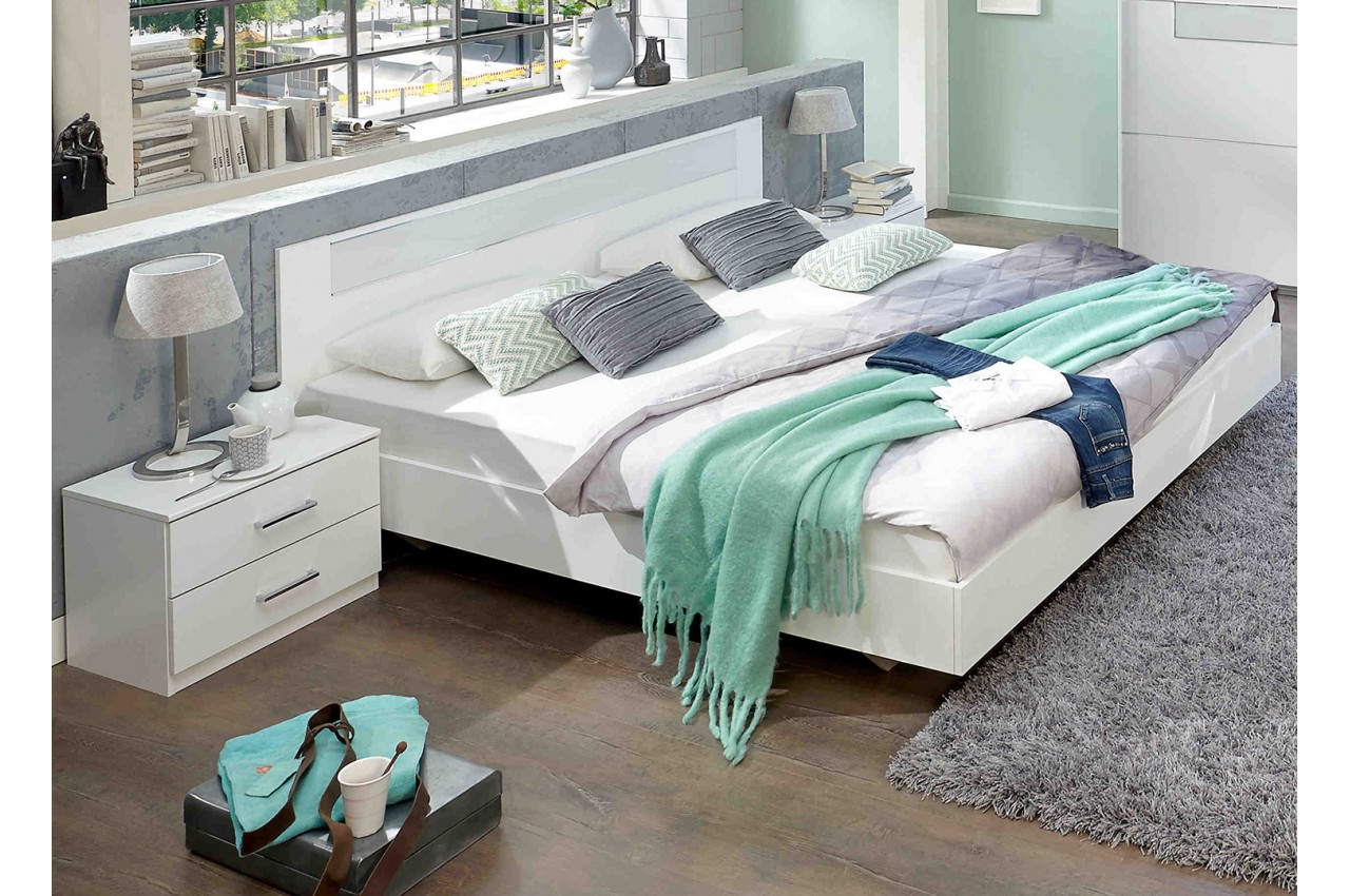 lit 140x200 cm blanc chambre adulte pour chambre adulte. Black Bedroom Furniture Sets. Home Design Ideas