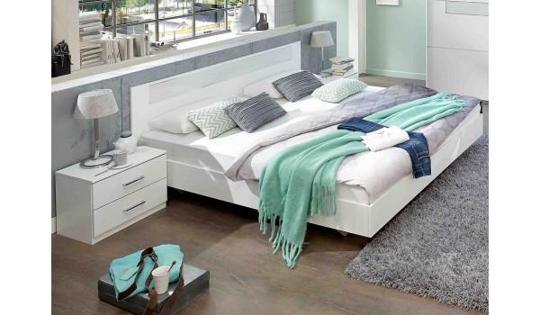 Lit 180x200 cm Blanc - Chambre Adulte pour chambre adulte