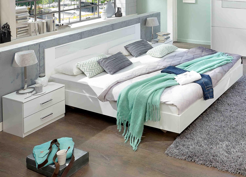 Lit Double Surélevé Adulte lit 180x200 cm blanc - chambre adulte pour chambre adulte