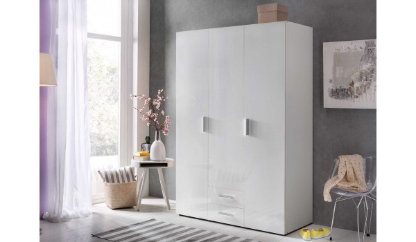 Armoire Dressing Blanche - 3 Portes / 2 Tiroirs