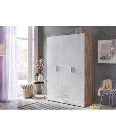 Dressing & Rangement Blanc - Chêne - 3 Portes / 2 Tiroirs