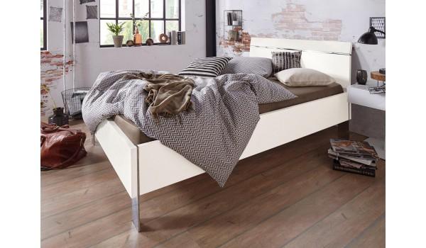 Lit Adulte Design 140x200 cm Blanc et Chrome