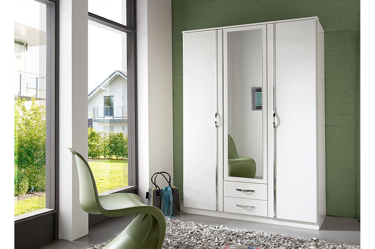 Armoire Blanche - 3 Portes / 2 Tiroirs pour chambre adulte