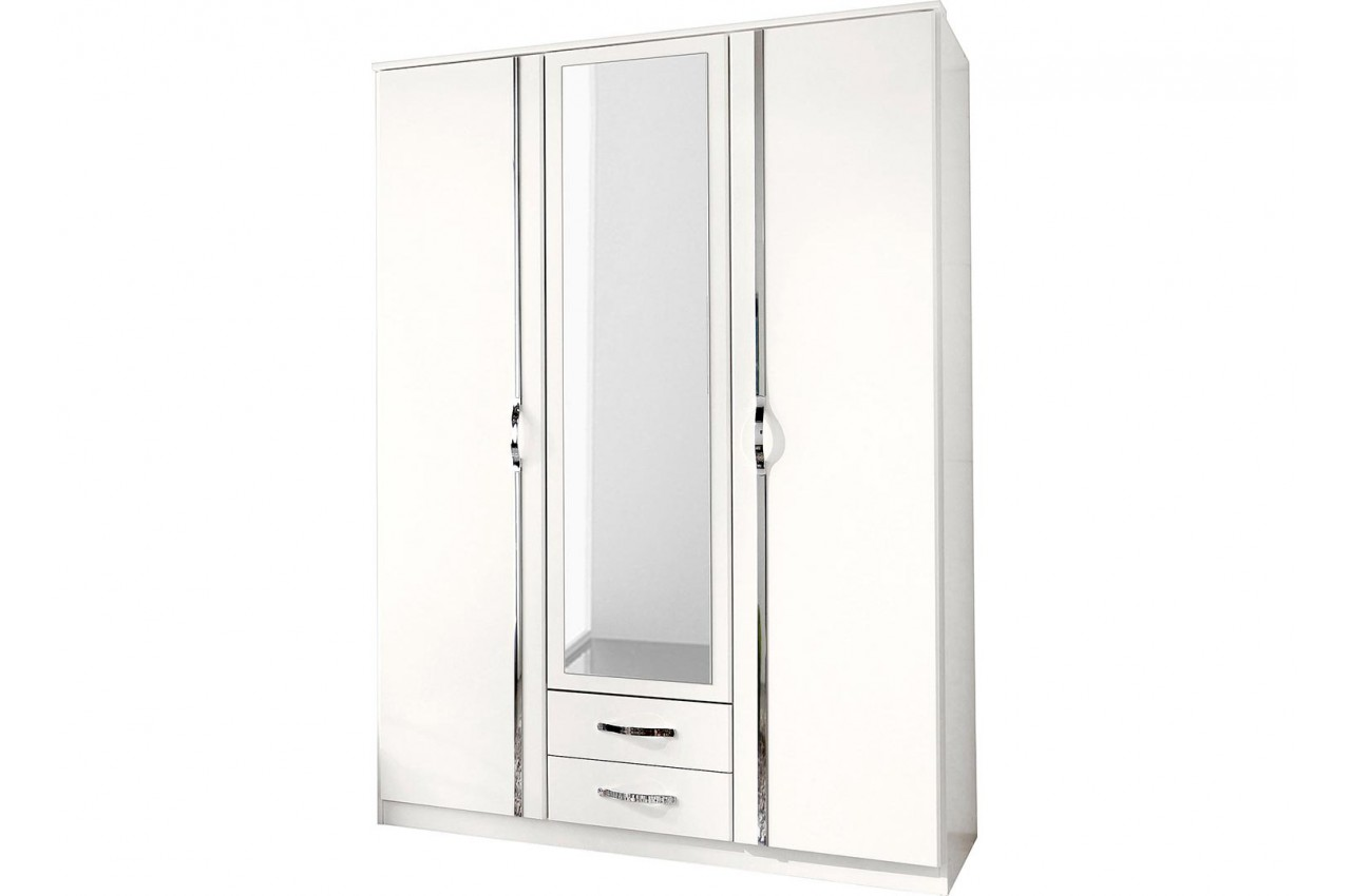 armoire blanche 3 portes 2 tiroirs pour chambre adulte. Black Bedroom Furniture Sets. Home Design Ideas