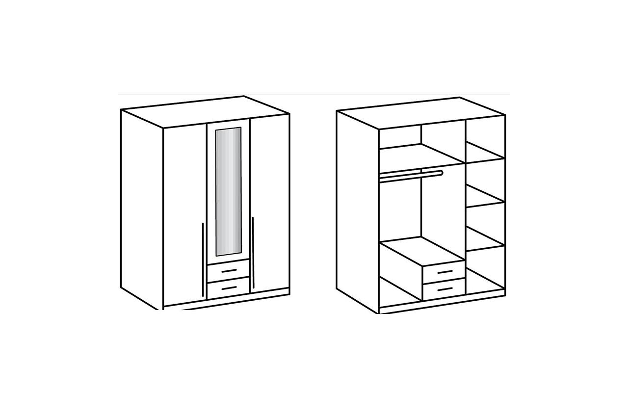armoire blanche 3 portes 2 tiroirs pour chambre adulte. Black Bedroom Furniture Sets. Home Design Ideas