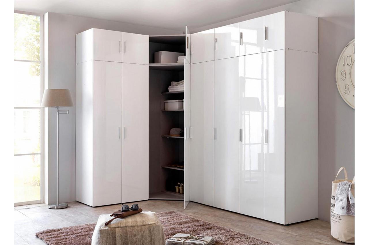 Placard dressing d 39 angle blanc pour chambre adulte - Meuble angle chambre ...