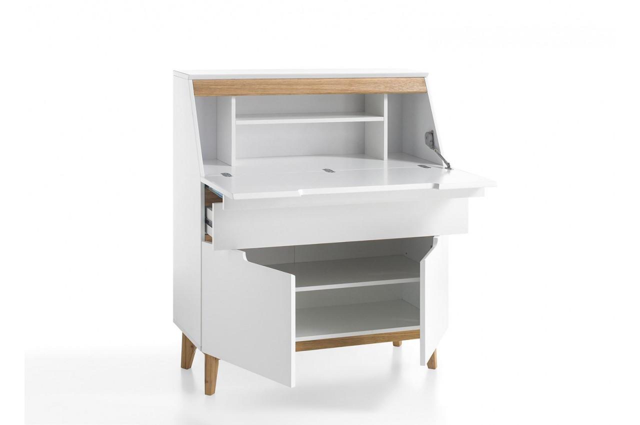 bureau secr taire blanc bois scandinave pour chambre. Black Bedroom Furniture Sets. Home Design Ideas