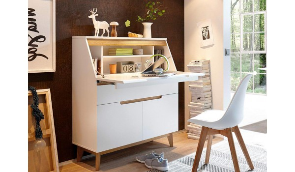 Bureau secrétaire blanc & bois scandinave novomeuble