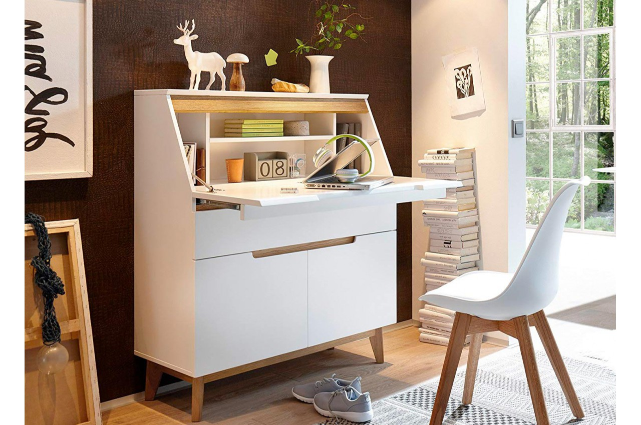 bureau secr taire blanc bois scandinave pour bureau. Black Bedroom Furniture Sets. Home Design Ideas
