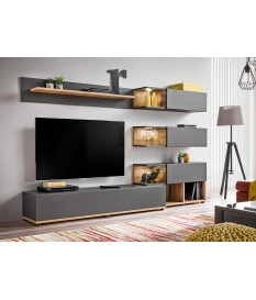 Meuble TV Design Led Gris & Bois