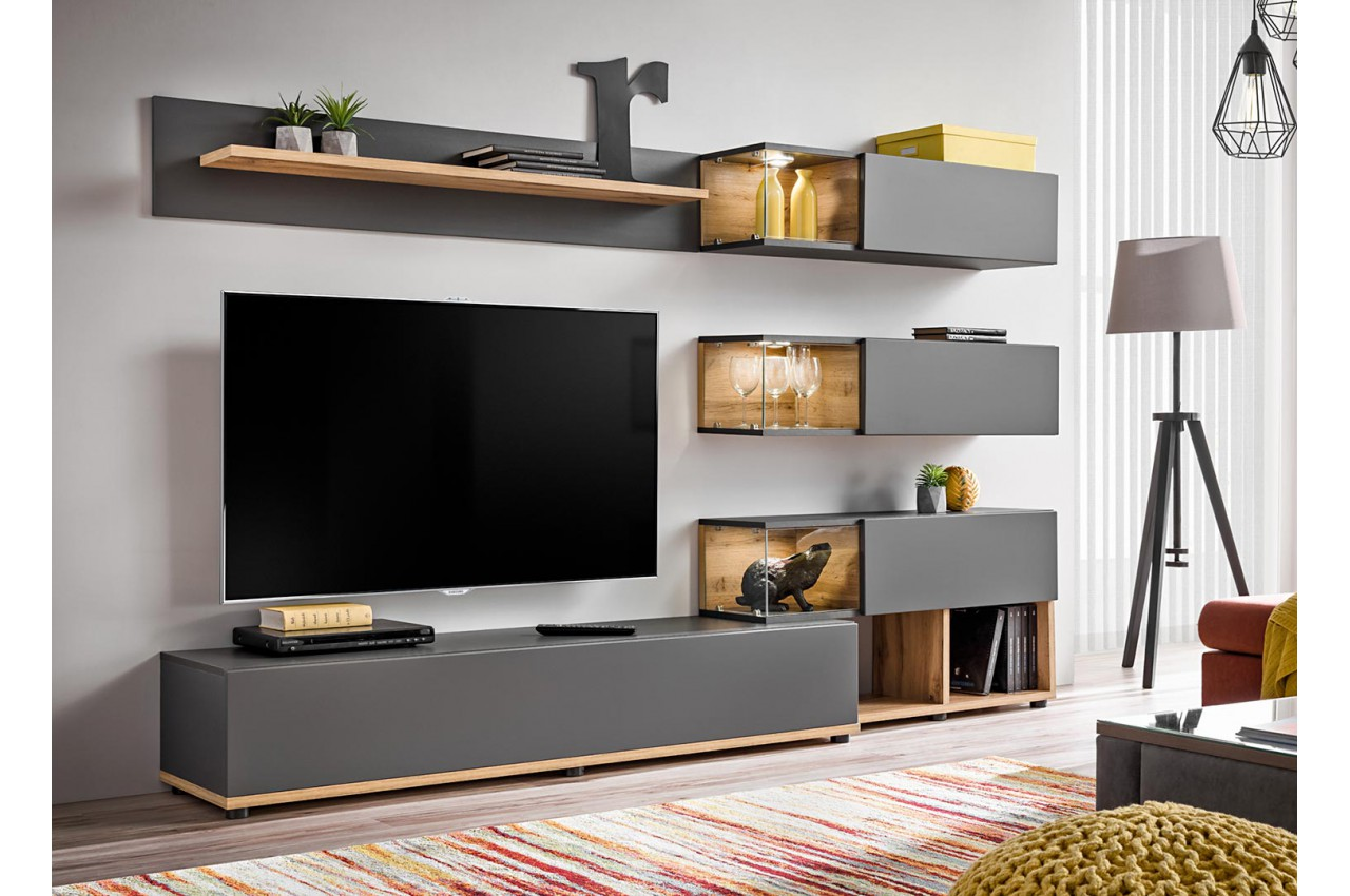 meuble tv design led gris bois pour salon. Black Bedroom Furniture Sets. Home Design Ideas