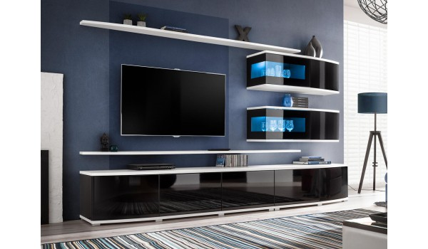 meuble tv design led noir et blanc pour salon. Black Bedroom Furniture Sets. Home Design Ideas