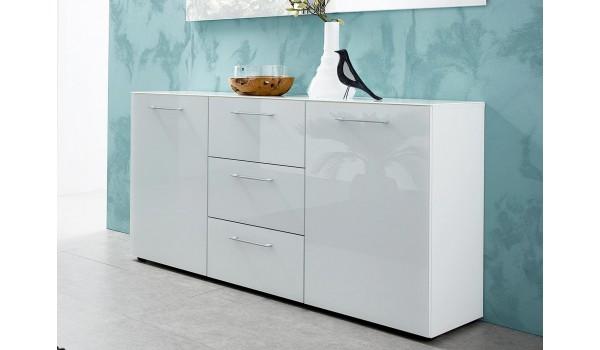 Meuble Buffet Design Blanc - 145 cm 2 Portes et 3 Tiroirs