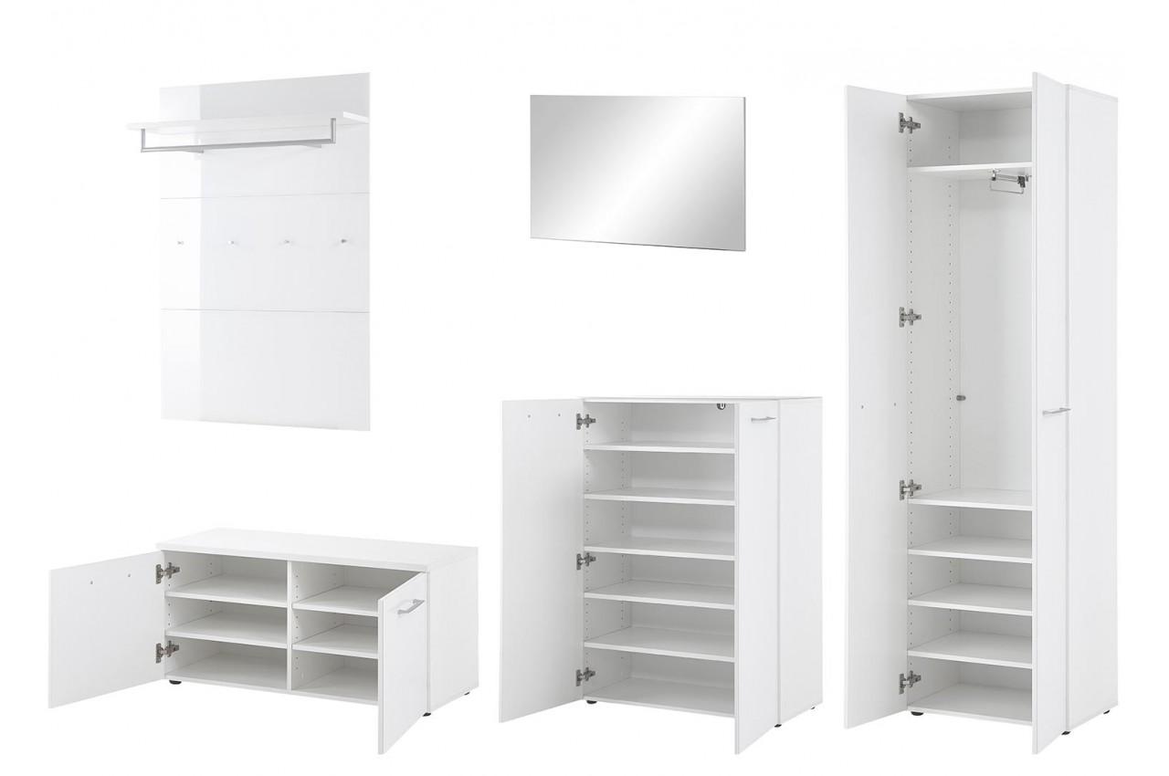 rangement chaussures et vestiaire blanc pour meuble entr e. Black Bedroom Furniture Sets. Home Design Ideas