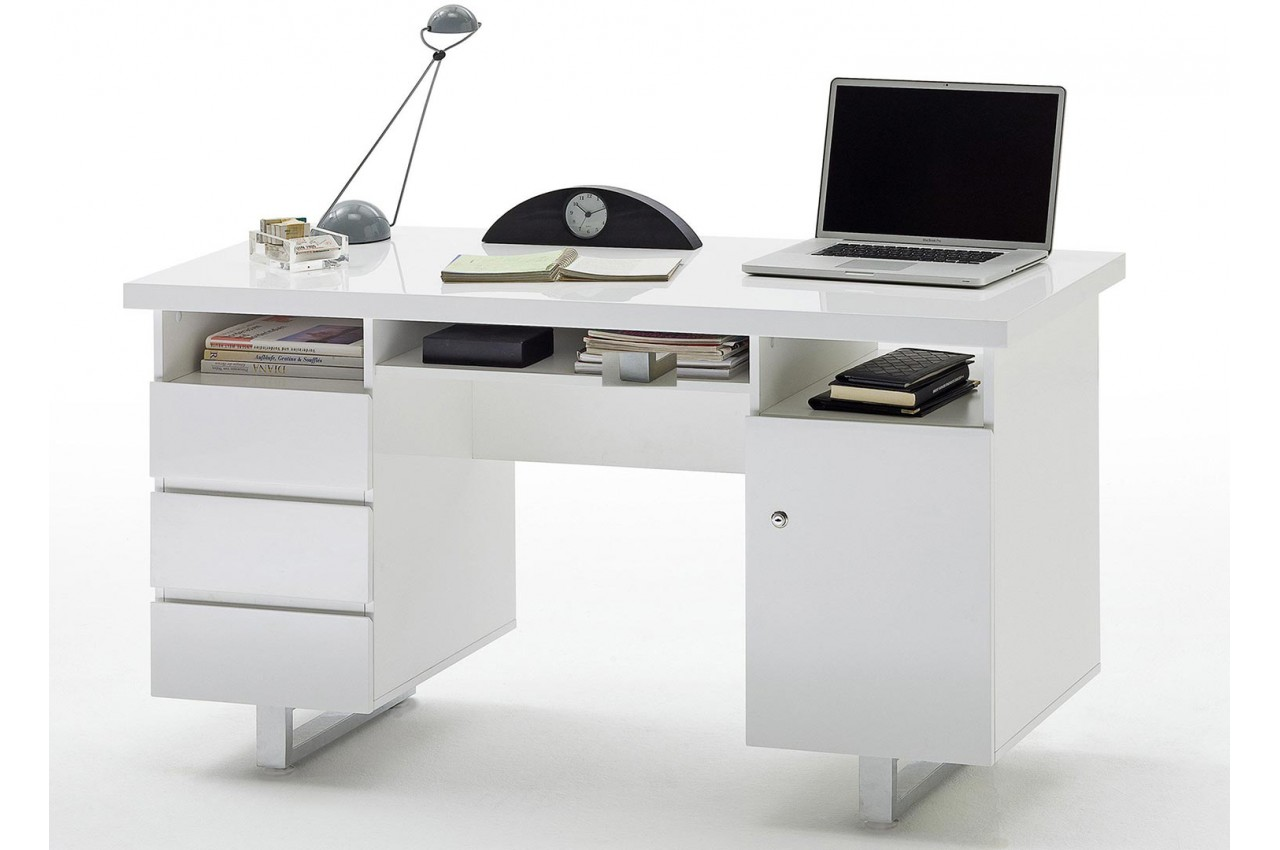bureau blanc laqu avec rangement moderne pour chambre. Black Bedroom Furniture Sets. Home Design Ideas