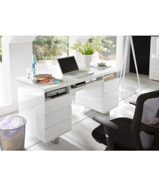 Bureau blanc laqué avec rangement moderne