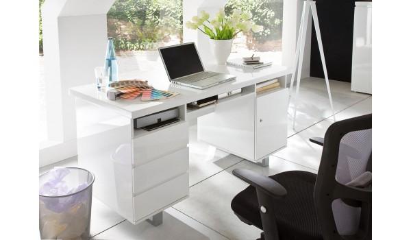 Bureau blanc laqué avec rangement moderne pour chambre enfant ado