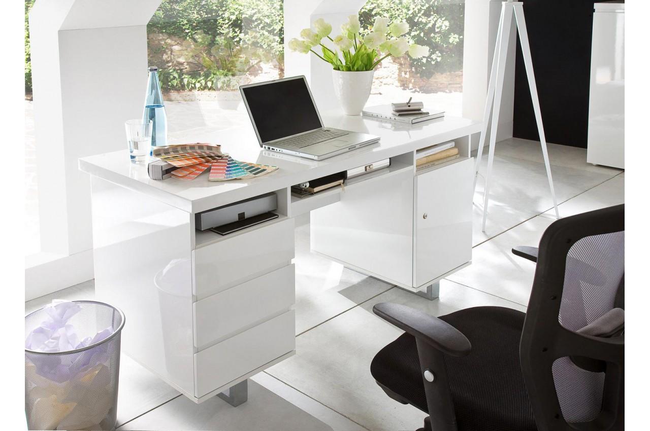 Bureau blanc laqué avec rangement moderne novomeuble