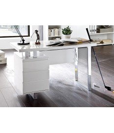 Bureau blanc laqué design avec tiroirs
