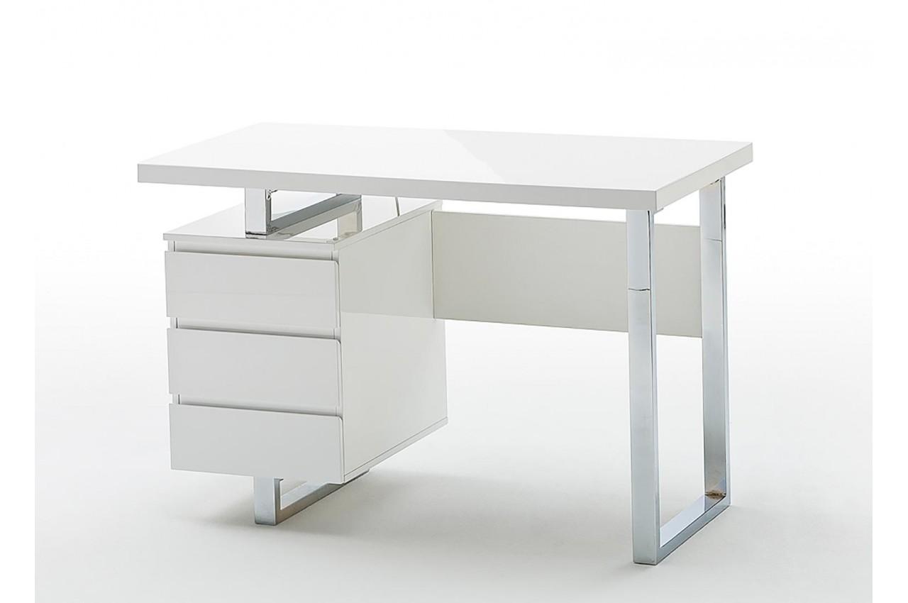 Bureau blanc laqué design avec tiroirs pour chambre enfant ado