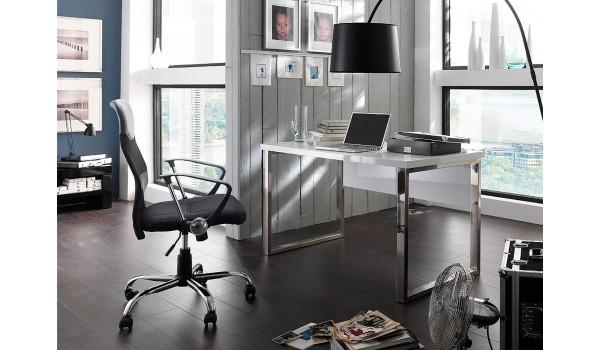 Table de bureau blanc laqué design pour chambre enfant ado