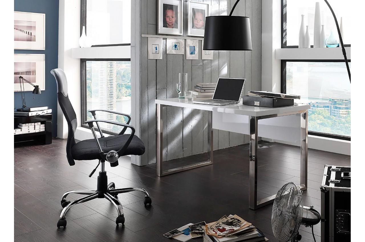 Table de bureau blanc laqué design novomeuble
