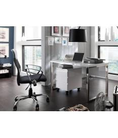 Table de bureau avec rangement blanc laqué design