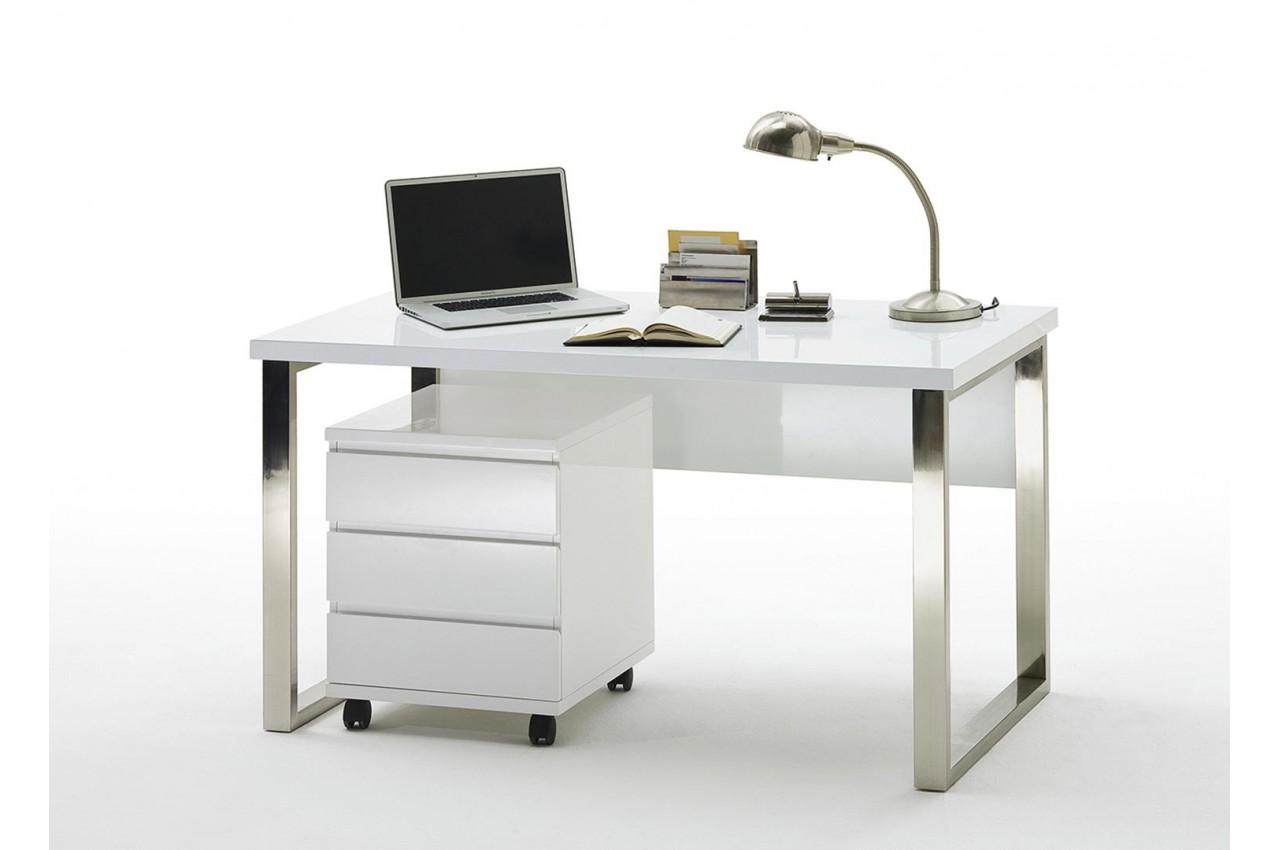 Table de bureau avec rangement blanc laqué design pour chambre