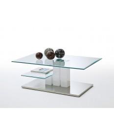 Table basse de salon blanche et verre