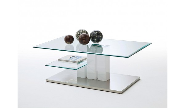 Table Basse Blanche Verre.Table Basse De Salon Blanche Et Verre