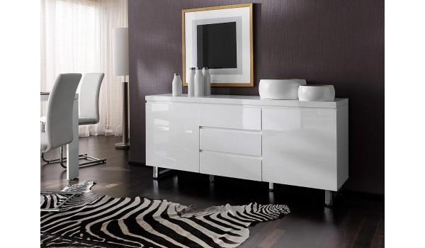 Buffet blanc laqué design / Pied chromé