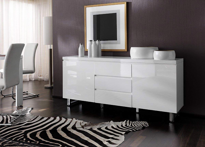 Objet Deco Laque Blanc buffet blanc laqué design / pied chromé pour salle à manger