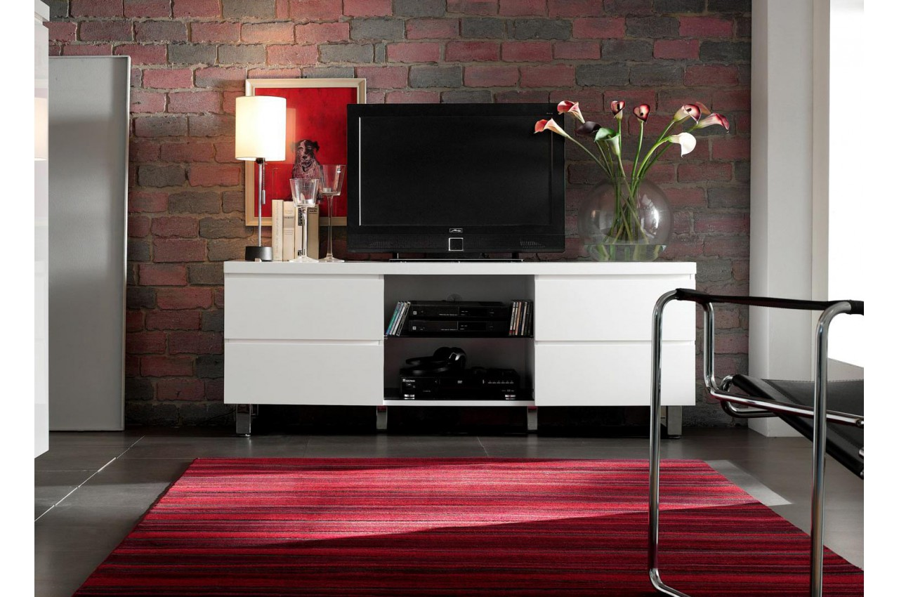 meuble tv blanc laqu design pour salon. Black Bedroom Furniture Sets. Home Design Ideas
